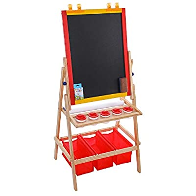 U.S. Art Supply Flip-Over Children's Double-Sided Paint and Drawing Art Easel Board with Chalkboard, Dry Erase Board, Paper Roll, 3 Storage Bins, 5 No-Spill Cups, Chalk - Kids Toddlers Write Have Fun