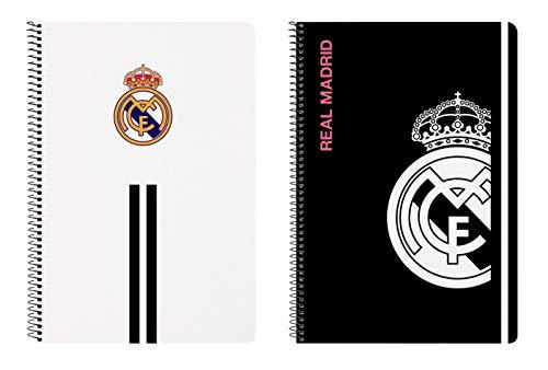 Safta- Real Madrid Cuaderno 80 Hojas, Color Blanco/Negro, 215x10x310 mm (512054066)
