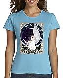 latostadora - Camiseta Hada Art Nouveau para Mujer Azul Cielo XL