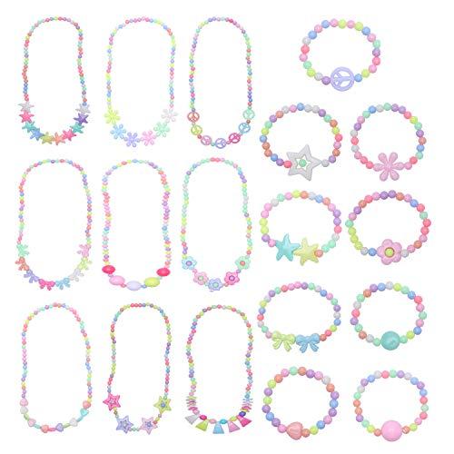 DesignerBox - Juego de 18 pulseras para niñas, diseño de princesa, con cuentas elásticas, para niños, para juegos de niños, para disfraz, joyas, regalos de fiesta (juego de 1)