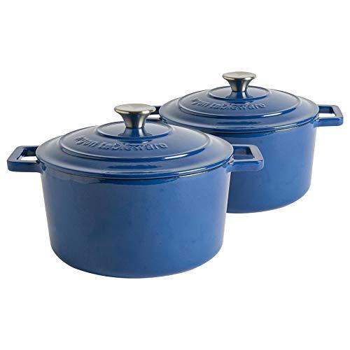 Argon Tableware Platos de hierro fundido esmaltado para horno - Horno holandés - agregado de jugos Tapa - Placa de cocción a horno - 24cm - Midnight Blue - Paquete de 2