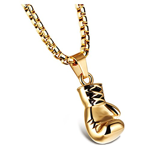 CUHAWUDBA Jewelry Herren Halskette - Kette Boxhandschuhe Anh?nger, 55Cm Verstellbar - Edelstahl - Für M?nner Und Frauen - Farbe Gold - L?nge 55 cm - Mit Geschenktüte