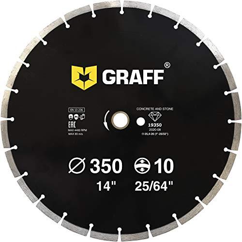 "GRAFF Diamond Blade for Angle Grinder - Diamond Cutting Wheel for Cutting Stone, Marble, Granite, Brick, Masonry, Paving Flag, Concrete - Diamond Saw Blades Segment Height 0.394"" (10 mm) - 14 inches"