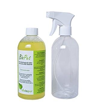 Biopet biol opur Désodorisant–Désodorisant–Spray–Nettoyant Urine, Animal de Compagnie.–500ML concentré = 5l de Solution