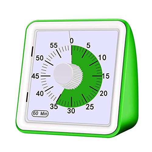 60 Minuten von Visual Analog Timer, Stumm Countdown-Uhr-Zeit-Management-Tool for Kindererwachsene Study-1pc (Color : Green)