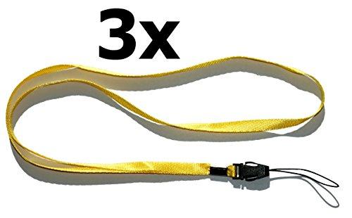 Halsband, schouderband, draagband, lus (3-delig pak geel) voor kleine mobiele telefoons, MP3-speler, sleutels, ID-kaart, USB-sticks, fluitje, kompas