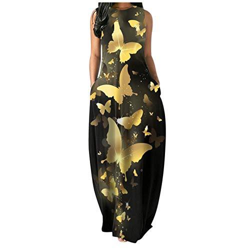 Vestido largo con estampado de flores de mariposa y cuello redondo para mujer, estilo de playa, falda larga para verano, sin mangas, vestidos largos