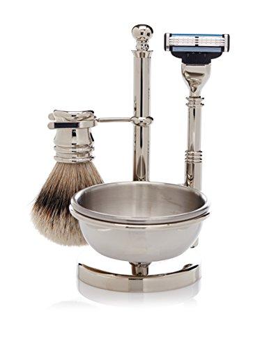 Golddachs - Soporte para brocha y cuchilla de afeitar con cuenco para espuma (1 unidad), color plateado