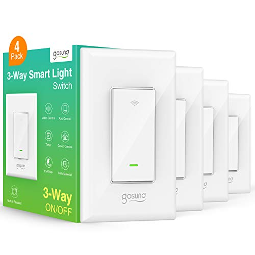 Gosund Smart Switch 3 Way WiFi Light Switch Works with Alexa and Google Home Schedule Timer Neutral Wire Required SinglePole and 3Way Installation No Hub Required ETL and FCC Listed 4Pack