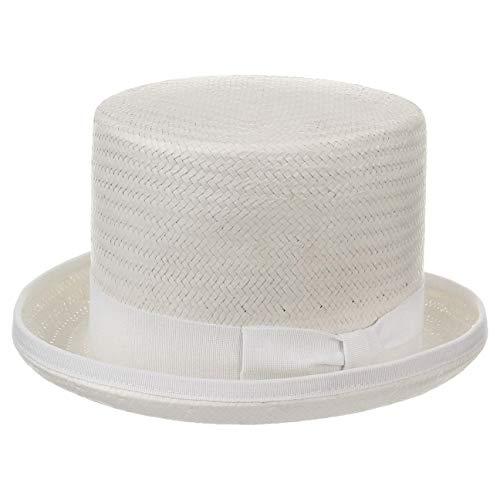 Chapeaushop Haut-de-Forme Rom en Paille Chapeaux de Paille Chapeau pour Homme (59 cm - Blanc)