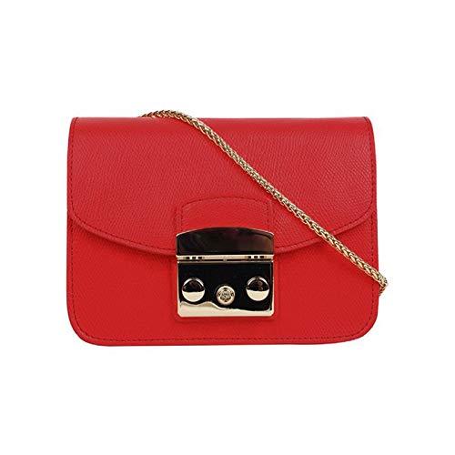 JDG Kleinpalme-Korn-kleine Tasche Mini-Schulter-Messenger-Kette (Color : Red, Size : 17 * 7.5 * 13cm)