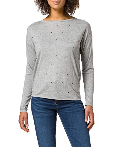 Springfield Camiseta Tachas Delantero, Gris Oscuro, M para Mujer