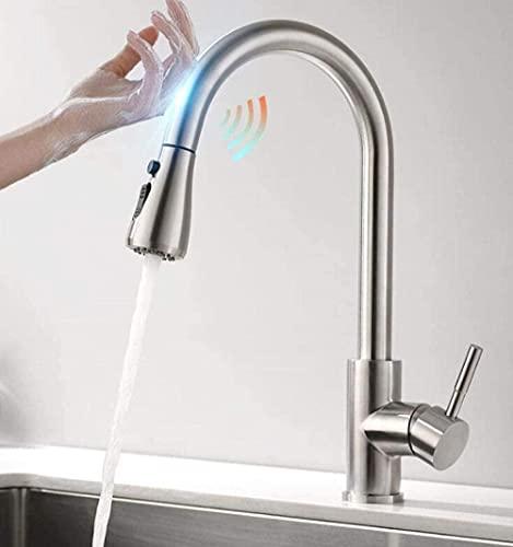 Grifo de grifo todo el grifo de cobre Smart Touch Grifos de cocina grúa para sensor grifo de agua de cocina Mezclador de fregadero giratorio sensor de agua mezclador cepillo níquel