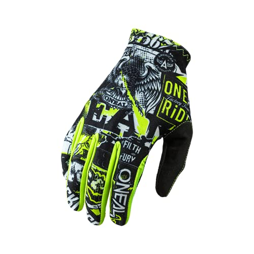 O'NEAL | Fahrrad- & Motocross-Handschuhe | MX MTB DH FR Downhill Freeride | Langlebige, Flexible Materialien, belüftete Handoberseite | Matrix Glove Attack | Unisex | Schwarz Neon Gelb | Größe L