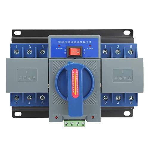 YELLAYBY Protección de circuitos Interruptor automático de transferencia, 1pcs Mini 63A 3P dual inteligente automático de potencia del interruptor eléctrico interruptor automático de transferencia ada