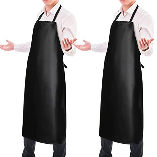 2 Pack Waterproof Rubber Vinyl Apron 40' Light Duty Model Chemical Resistant Work Apron Clothes Durable Extra Long Black with Adjustable Bib Apron for Dishwashing Lab Work Butcher Cleaning Fish 2Pack