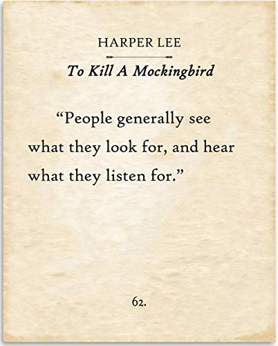Harper Lee - People Generally See What They Look For - 11x14 Unframed Typography Book Page Print - Great Inspirational Gift and Decor Under $15