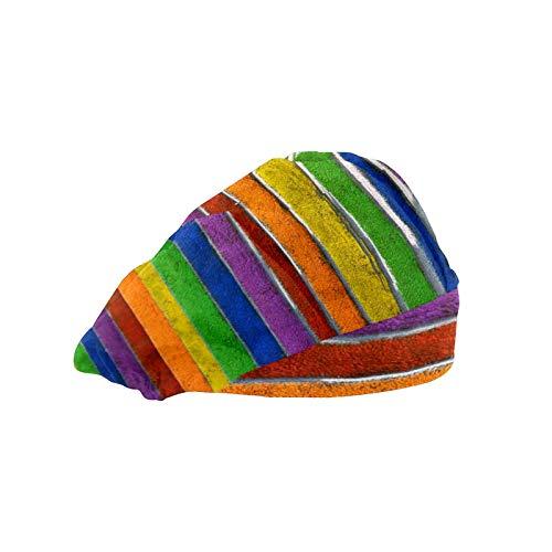 Gorra de mujer para cabello largo con banda elástica ajustable para el sudor Gorras de trabajo para hombres bufanda de cabeza impresa 3D sombreros escaleras pintadas arco iris LGBT
