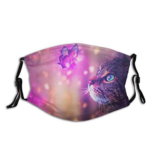 Mascarilla de gato animal lindo animal para adultos, lavable pasamontañas cara cómoda reutilizable con 2 filtros para hombres, mujeres y adolescentes 'Tamaño: M', protector facial