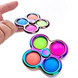 Pop it spinner, Simple Dimple Fidget Spinner Toy, Fidget Sensory Toys,Handheld Mini Push Pop Bubble Fidget Spinner Stress Relief Silicone Toy for ADHD Anxiety, for Kids Adults (A)