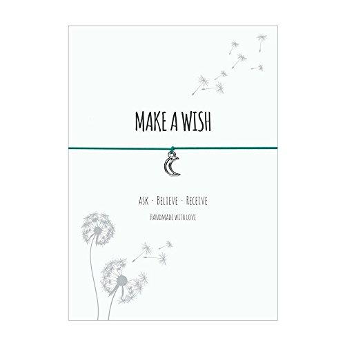 Glücksschmiedin Make a Wish - Wunsch Armband mit Mond Anhänger versilbert, elastischem Textilband in türkis und liebevoller Karte: Ask-Believe-Receive