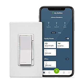 Leviton DW1KD-1BZ Decora Smart Wi-Fi 1000W Incandescent/450W LED Dimmer No Hub Required Works with Alexa Google Assistant and Nest 1-Pack White
