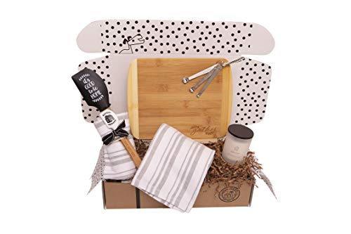 Hey It's Your Day Gifts Unique House Warming Wedding New Home Gift Basket with Cutting Board, Utensils, Candle and More