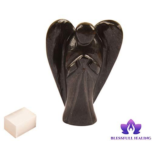 Piedra de ónix negro natural Reiki tallada Piedra preciosa espiritual Ángel de bolsillo Estatua del ángel con cubo de selenita Terapia de cristal'2 pulgadas aprox. - Blessfull Healing