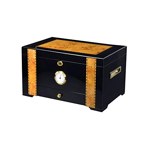 QHHALXZ Gabinete de Puros con humidificador y humidificador higrómetro para Caja de Puros de Doble Capa de Escritorio Club
