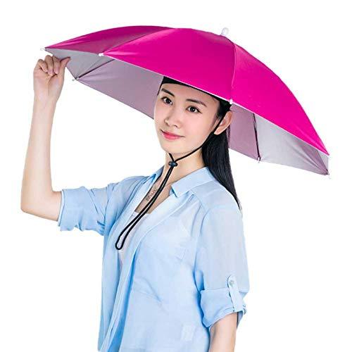 Jiakalamo Sombrero, cabeza libre, paraguas para sol, lluvia, pesca, jardinería, plegable, ajustable, multifunción, para exteriores (rojo rosa, tamaño: 27 pulgadas)