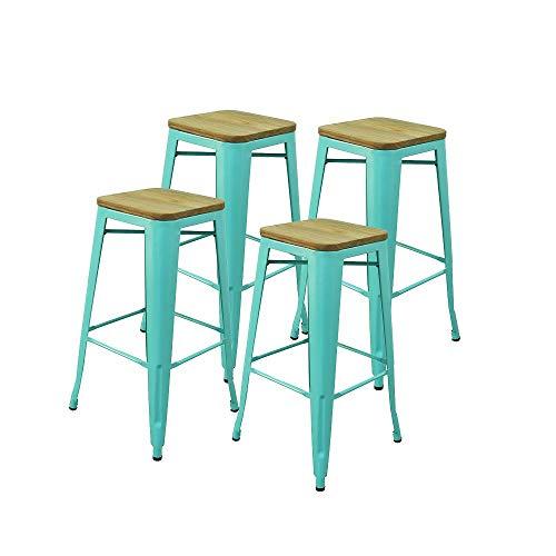 RED DECO Lot de 4 tabourets Hauts Gaston en métal Vert Style Industriel avec Assise en Bois Massif Clair