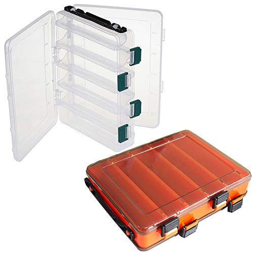 NAMIS 2pcs Caja de Almacenamiento de Pesca, 10 Rejillas Doble Cara Caja de Almacenamiento para Señuelos, Caja Aparejo Pesca Impermeable con Encargarse, Pesca Accesorios(20 * 17 * 4.5cm)