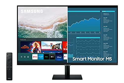SAMSUNG M5 Series 32-Inch FHD 1080p Smart Monitor & Streaming TV (Tuner-Free), Netflix, HBO, Prime Video, & More, Apple Airplay, Bluetooth, Built-in Speakers, Remote Included (LS32AM500NNXZA)