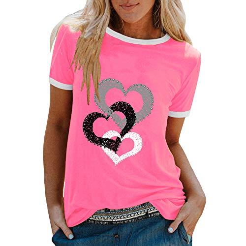 YANFANG Camiseta De Manga Corta Suelta con Cuello Redondo Y Estampado Informal A La Moda para Mujer, Blusa Superior, Jersey Camisetas Mujer Raya Blusas Tops FiestaLPink