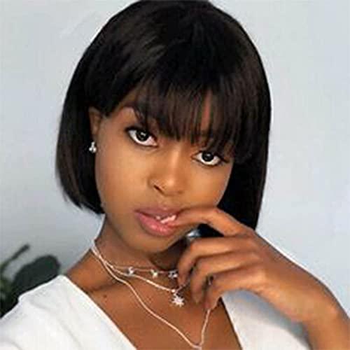 FDER pelucaBob Pelucas con Flequillo, 180% de Densidad Máquina de Cabello Humano vírgenes brasileña Hecho Pelucas Cortas de Pelucas humanas para Mujeres Negras Color NATU bob-12in