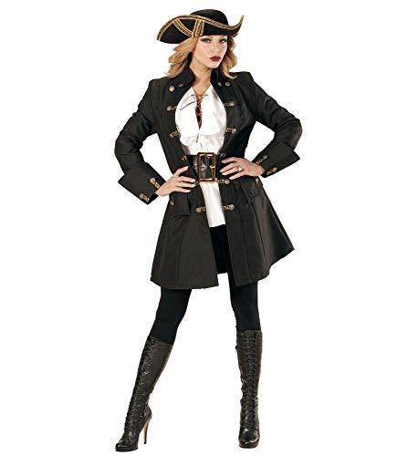 shoperama Schwarzer Damen-Mantel mit goldenen Knöpfen für Piratin Fluch der Karibik Kostüm Seeräuber Jacke, Größe:XXL