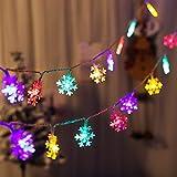 Luces de Navidad Copo de Nieve, 40 LED Cadenas de Luces con Batería Guirnalda Luces Decoración Navideña para Dormitorio Boda Fiesta Interior Exterior, color