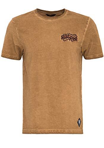 King Kerosin Herren T-Shirt Im Vintage-Look Hot Rod Rundhals Kurzarm Print-Shirt Regular Fit Vintage Abgesteppte Kante Hot Rod