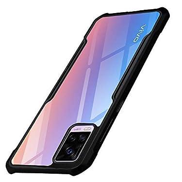 TheGiftKart Shockproof Crystal Clear Back Cover Case for Vivo V20 PRO   360 Degree Protection   Protective Design   Transparent Back (Black Bumper)