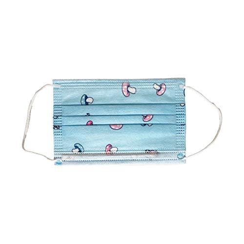 Mundschutz für Kinder 3-Lagig mit Nasenbügel (20, Blau)
