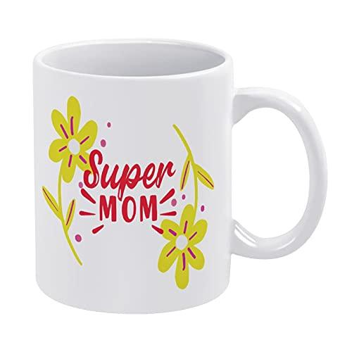 DKISEE Regalo de cumpleaños para mamá Super Mom, taza de café de cerámica, taza de té, regalo ideal para fiestas de cumpleaños
