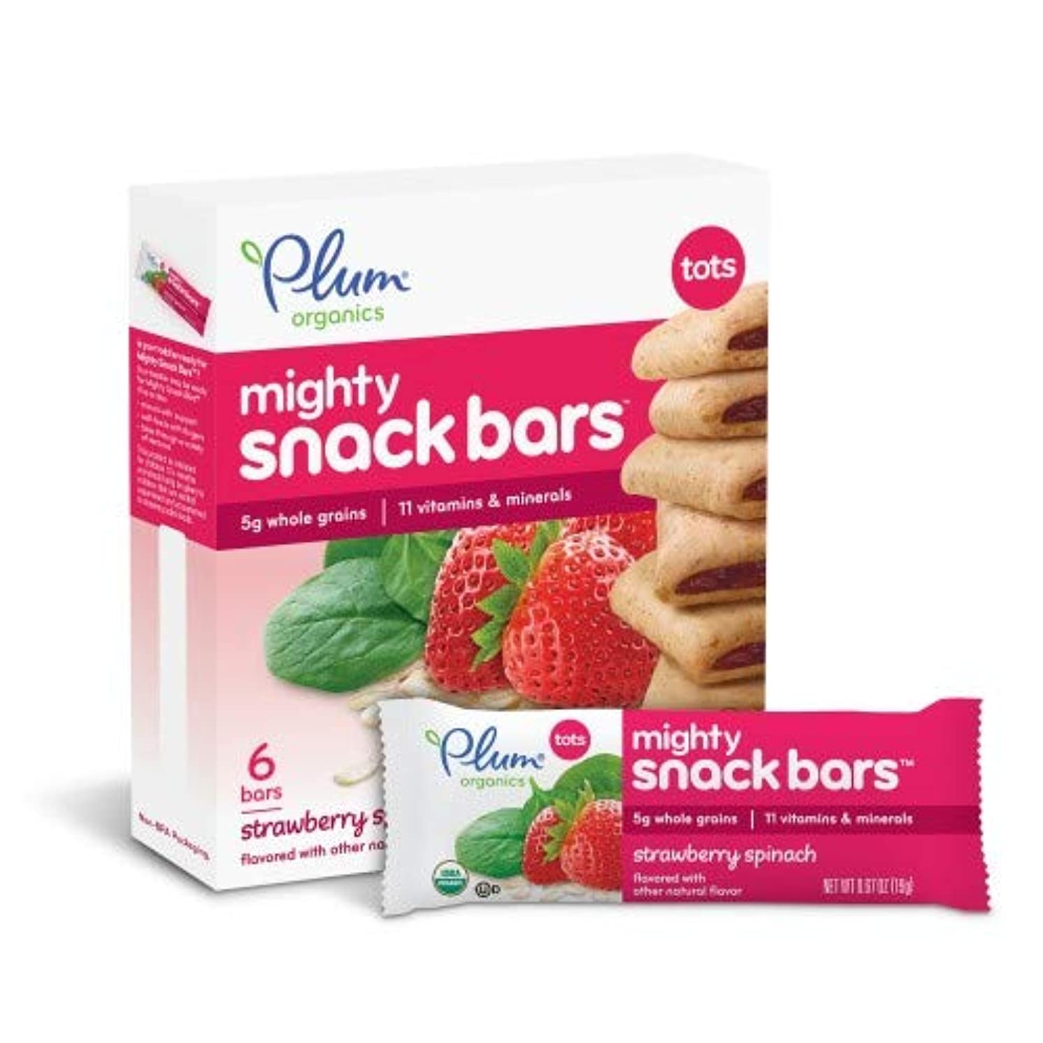 Plum Organics Tots Mighty 4 Cereal Bars Strawberry Spinach (Pack of 6)