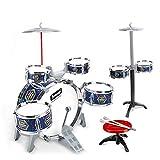 LuoKe Rock Band Jazz Drum Set Instrumentos de percusión Electroplate Drum Kit Música Juguetes educativos Festival Regalo con 7 Piezas de batería y 2 Piezas de Taburete para niños