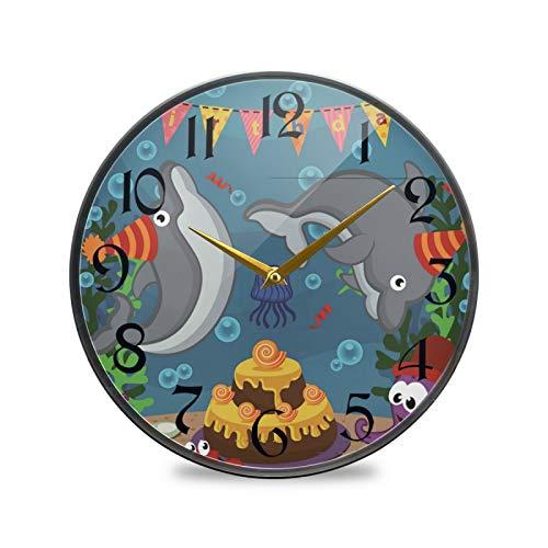 ART VVIES Reloj de Pared Redondo de 9,5 Pulgadas Que no Hace tictac silencioso Funciona con Pilas Oficina Cocina Dormitorio decoración del hogar-Fiesta de cumpleaños de Animales Marinos