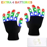 TOBEHIGHER LED Gloves for Kids - Light Up Toys with 3 Colors 6 Modes, Perfect Size for Boys and Girls, Flashing LED Gloves for Christmas Party Festival Best Gift, Extra 4 Batteries, Gift Box