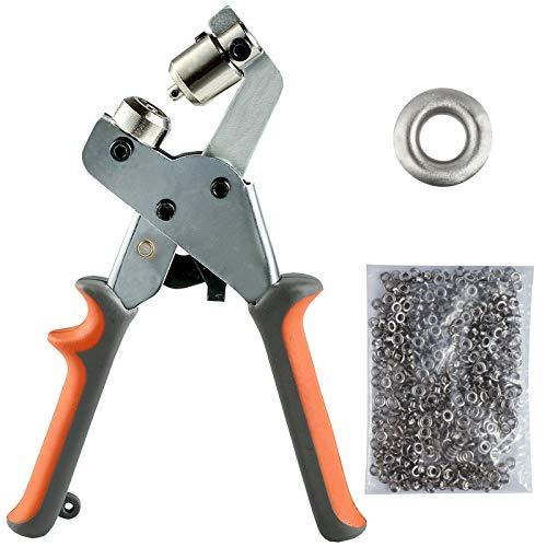 BIZOEPRO Grommet Tool Kit Grommet Press Punch Kits Grommet Machine Pliers Handheld Eyelet Kit W/with 500pcs 1/4 Inch (6mm) Silver Grommets