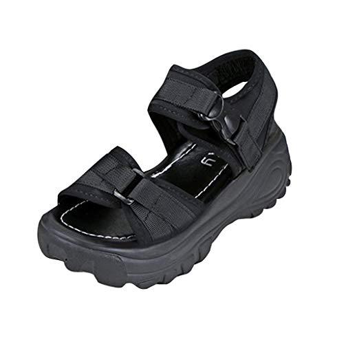 Fannyfuny Keilabsatz Damen Sandalen mit Klettverschluss Outdoor Casual Sport Sandalen Wedges Dicker Boden Sandalen Keilschuhe Bequeme Elegante Schuhe Peeptoe Atmungsaktiv rutschfest Beach Sandal
