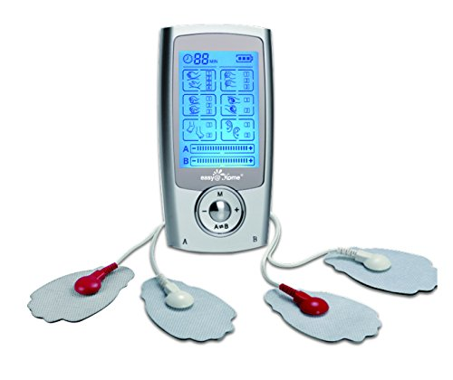 Easy@Home Rechargeable TENS Unit + EMS Muscle Stimulator, Dual Independent Channels With 20 Intensity Levels, 8 EMS or TENS Massage...