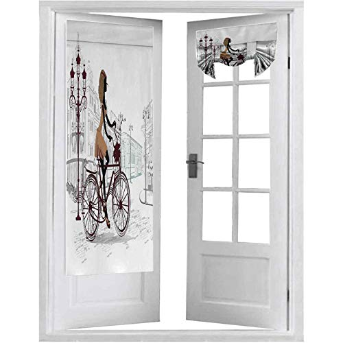Cortina opaca para puertas francesas, con pantalla francesa de bicicleta, 1 panel de 66 x 172,7 cm con aislamiento térmico para puerta de cristal, castaño y perla marrón claro
