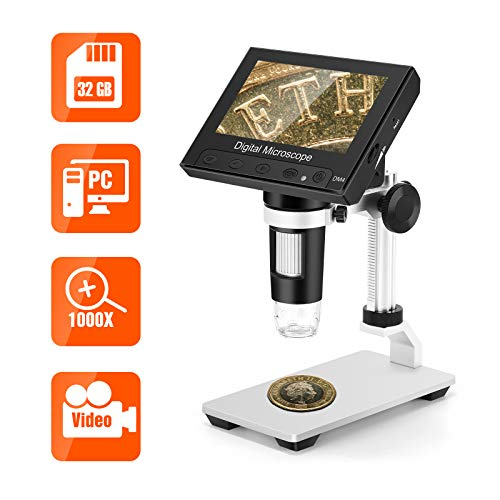 TOMLOV LCD Digital Microscope with 32GB SD Card, 4.3' 1000X Magnification Coin Microscope with Metal Stand, 8 LED Lights, Video Recorder for Observing Coin/Stamps/Plants/PCB, Supports Windows